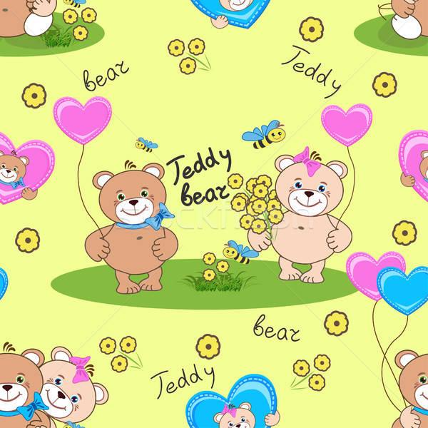 Teddyberen papier kinderen liefde hart Stockfoto © bedlovskaya