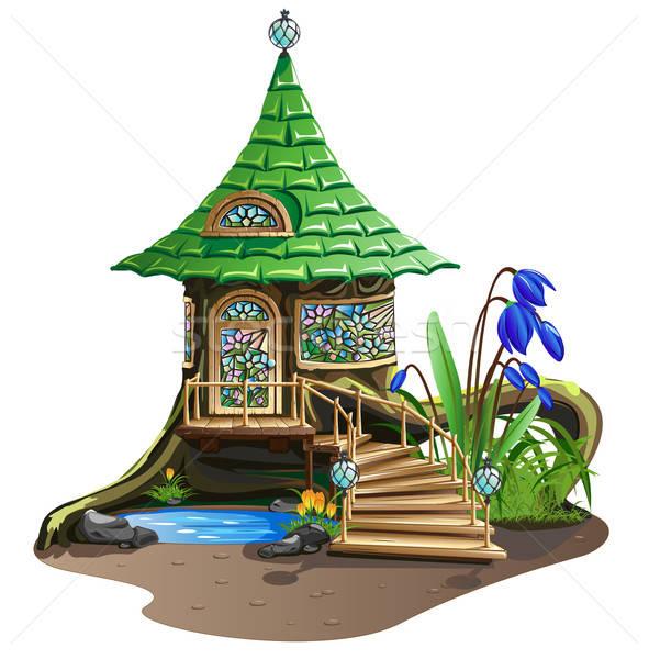 Fabuloso casa vidrieras flores árbol arquitectura Foto stock © bedlovskaya
