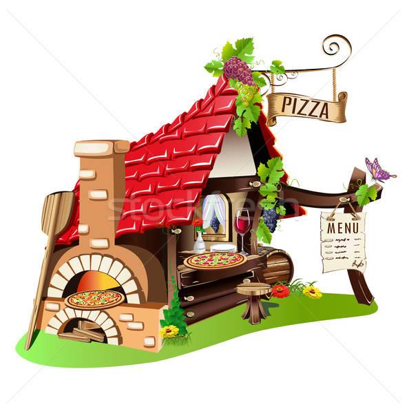 Vrolijk pizzeria fabelachtig gebouw kachel straat Stockfoto © bedlovskaya