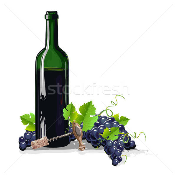 bottle of wine with bunches of grapes Stock photo © bedlovskaya