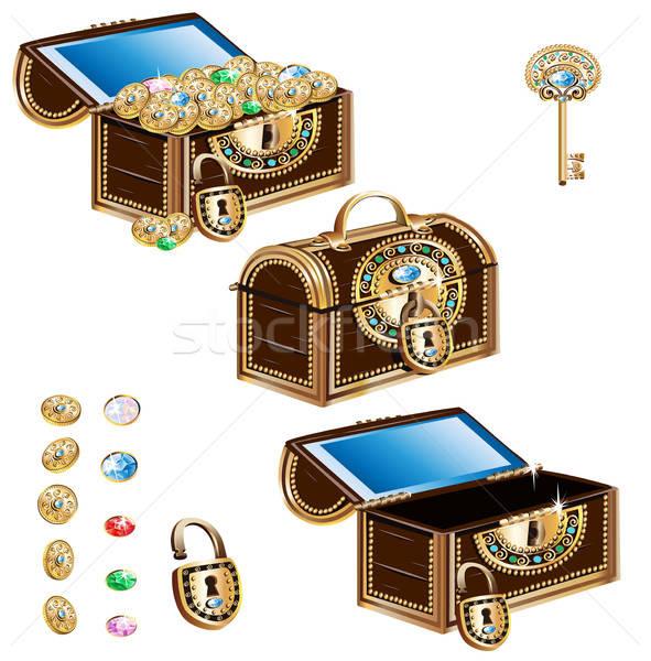 Decorado jóias ornamento conjunto isolado Foto stock © bedlovskaya