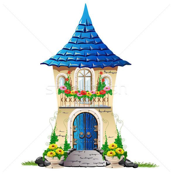 fairytale house with a balcony with flowers Stock photo © bedlovskaya