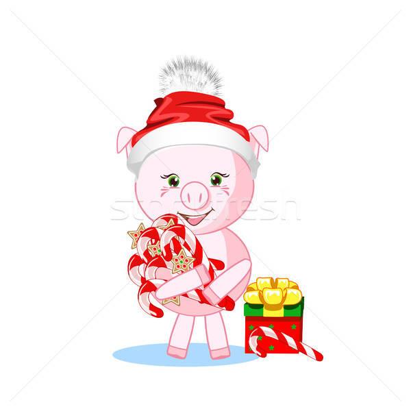 Sweet свинья зима Hat Новый год вечеринка Сток-фото © bedlovskaya