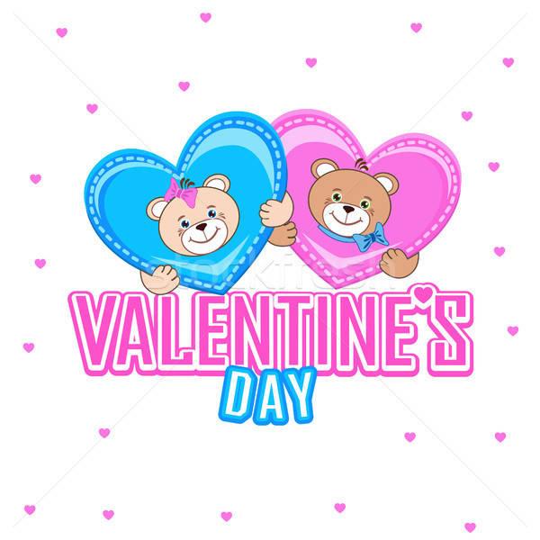 Briefkaart teddybeer harten valentijnsdag baby kinderen Stockfoto © bedlovskaya