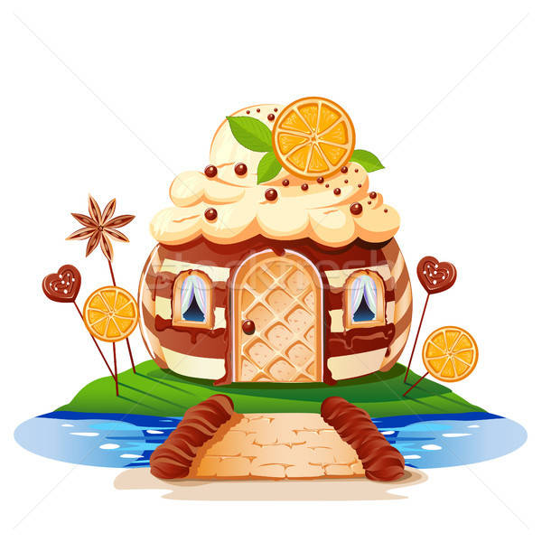 Stock photo: Sweet little house with chocolate and decorated with fruit