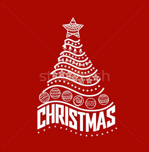 Kerstboom ingericht ornamenten brieven boom achtergrond Stockfoto © bedlovskaya