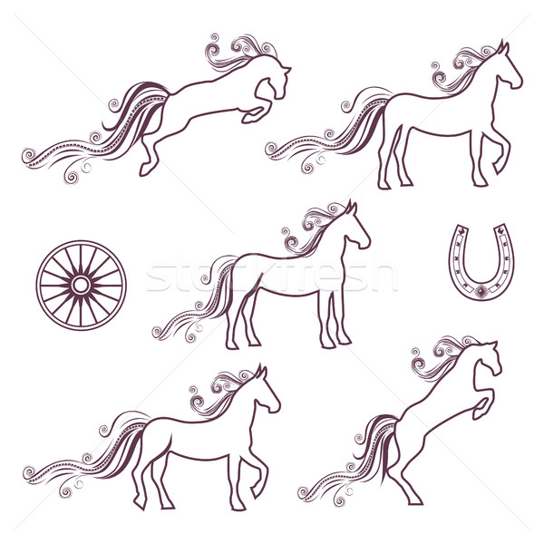 Collection of vector illustrations of horses Stock photo © bedlovskaya