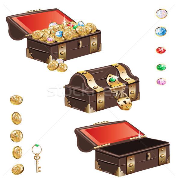 Schatkist ingesteld isolatie witte geld goud Stockfoto © bedlovskaya