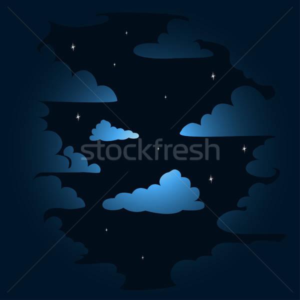 Stockfoto: Nacht · wolken · hemel · textuur · kunst