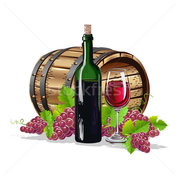 Vin baril bouteille verre design fruits Photo stock © bedlovskaya