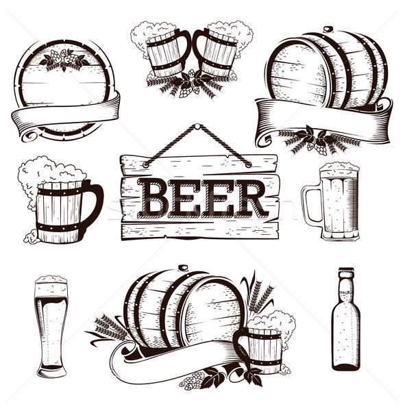 Bier ingesteld glas tarwe zwarte beker Stockfoto © bedlovskaya