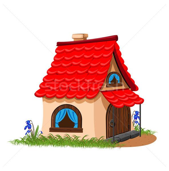 дома красный плиточные крыши цветы Сток-фото © bedlovskaya