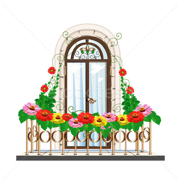 バルコニー 花 美しい アーキテクチャ ペン ドア ストックフォト © bedlovskaya