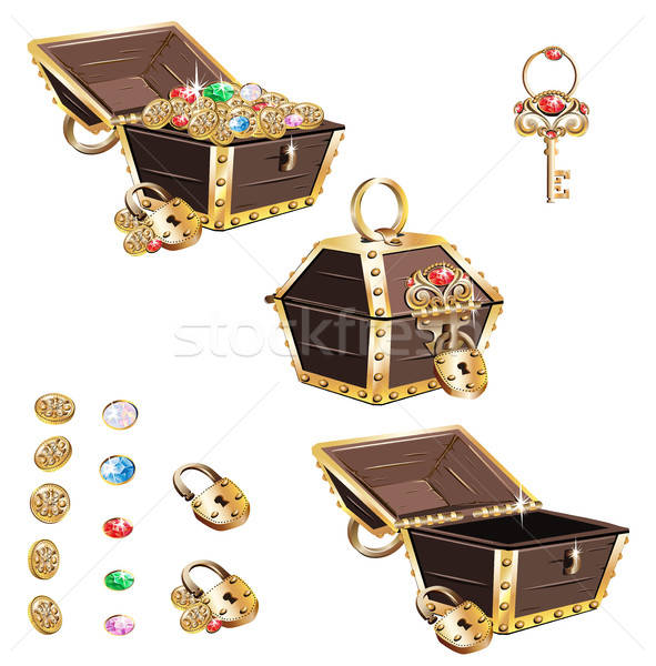 Treasure chest with golden ornaments Stock photo © bedlovskaya