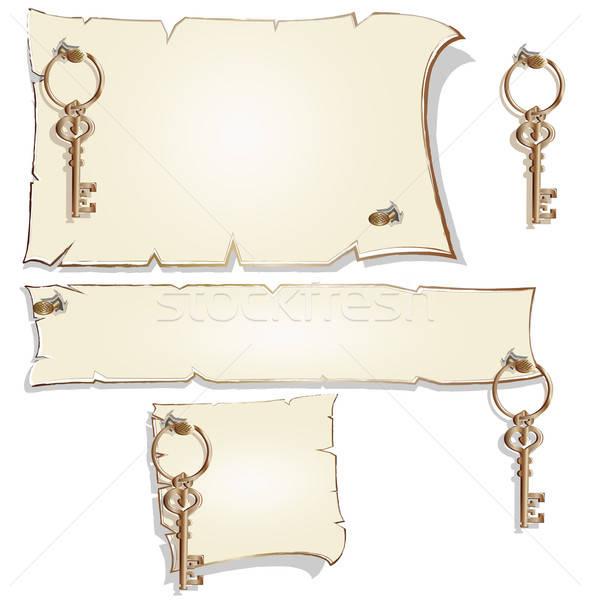 Lege frame sleutels papier goud nota Stockfoto © bedlovskaya