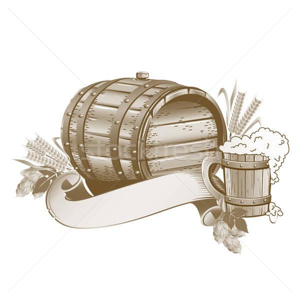 пива баррель натюрморт пить ретро Сток-фото © bedlovskaya