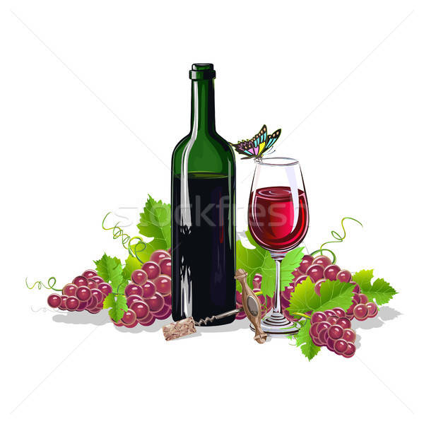 Stock photo: A bottle of wine with bunches of grapes