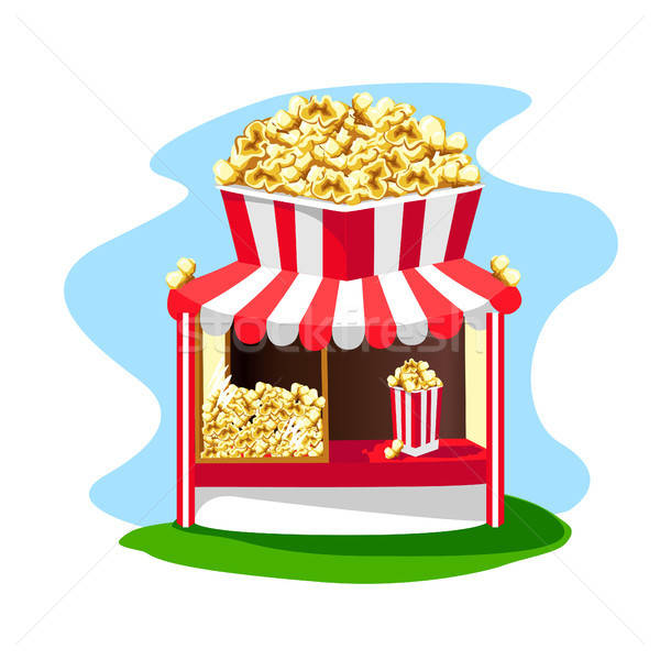Delicious and bright popcorn shop with a paper glass of popcorn on the roof Stock photo © bedlovskaya