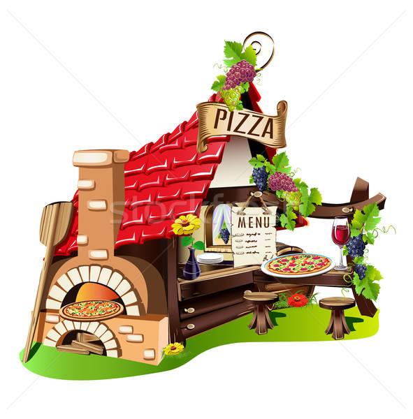 Pizzacı harika Bina soba sokak Stok fotoğraf © bedlovskaya