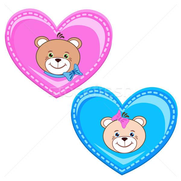 Teddybeer hart kleur gelukkig frame dieren Stockfoto © bedlovskaya