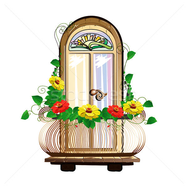 balcony with flowers and stained glass Stock photo © bedlovskaya