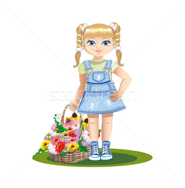 Meisje bloemen meisje zoete glimlach denim Stockfoto © bedlovskaya