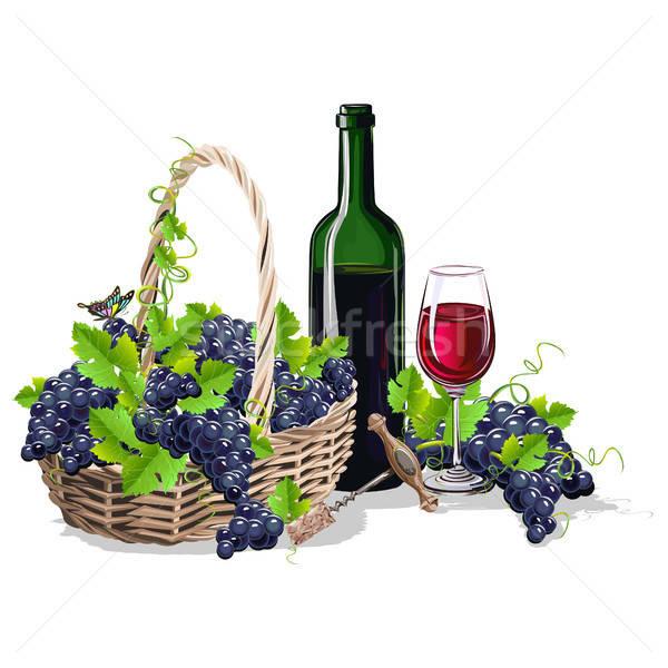 Fles wijn mand druiven ontwerp vruchten Stockfoto © bedlovskaya