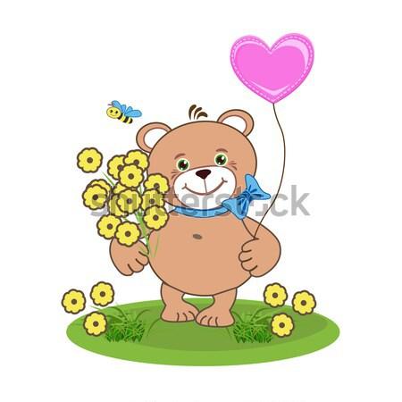Número quatro alegre tenha flores educação Foto stock © bedlovskaya