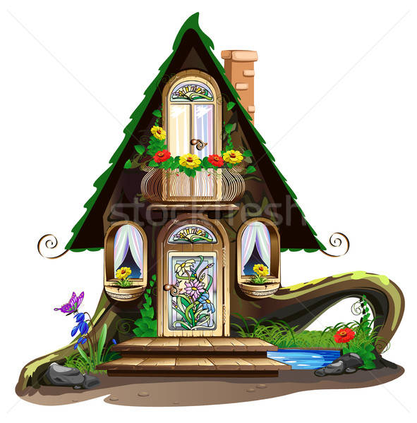 Fairytale wooden house with stained glass windows Stock photo © bedlovskaya