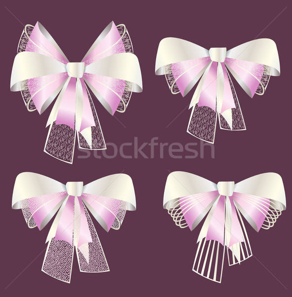 Bows from satiny ribbons and openwork Stock photo © bedlovskaya