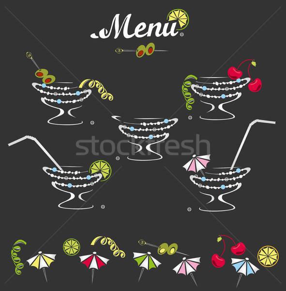 Decoraties cocktail menu ingesteld bar kleur Stockfoto © bedlovskaya