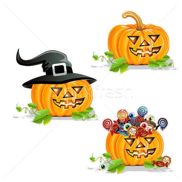 Halloween tök szett fényes szín illusztráció vektor Stock fotó © bedlovskaya