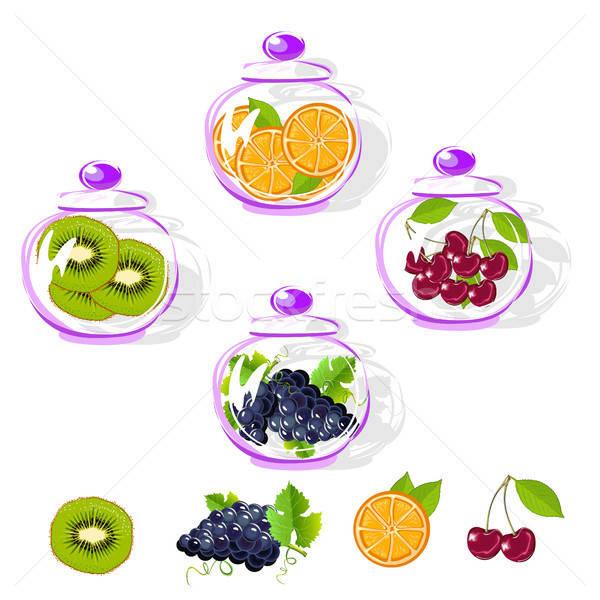 Fruits in a glass jar set. Kiwi, orange Stock photo © bedlovskaya