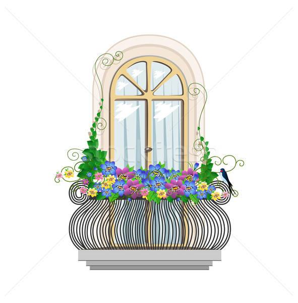 балкона цветы красивой архитектура цветок строительство Сток-фото © bedlovskaya