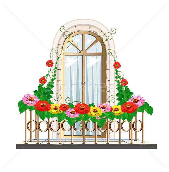 Balkon çiçekler güzel mimari kalem kapı Stok fotoğraf © bedlovskaya
