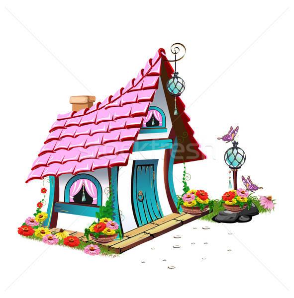 fairytale house with pink roof Stock photo © bedlovskaya