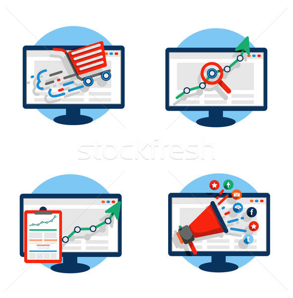 Seo iconen promotie reclame marketing Stockfoto © bedlovskaya