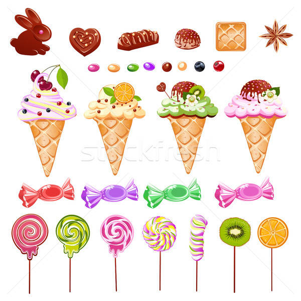 Stock photo: set of sweets from ice cream, candy and chocolate