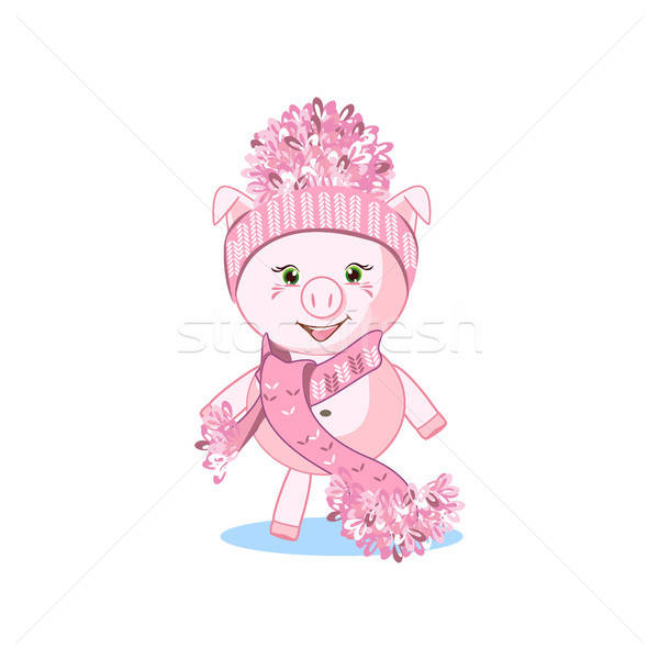 Sweet pig in a winter hat Stock photo © bedlovskaya
