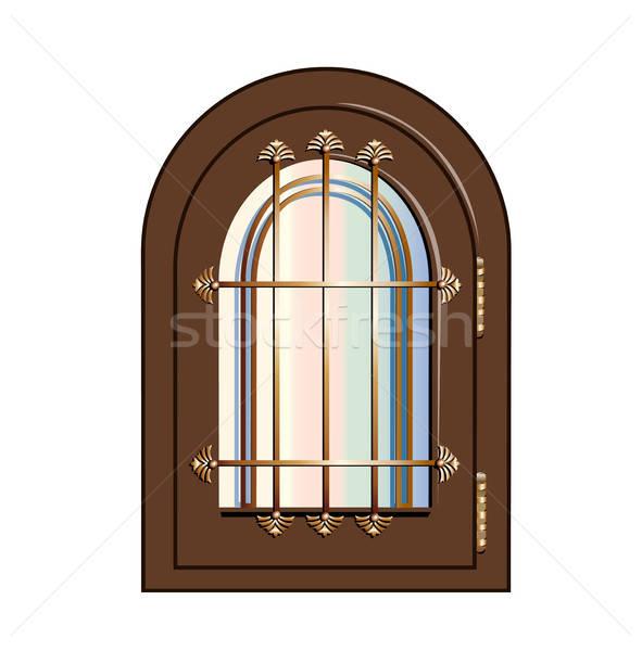 window with gilded beams Stock photo © bedlovskaya