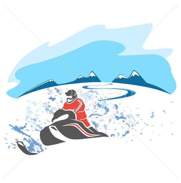 Equitação quadro esportes montanha inverno viajar Foto stock © bedlovskaya