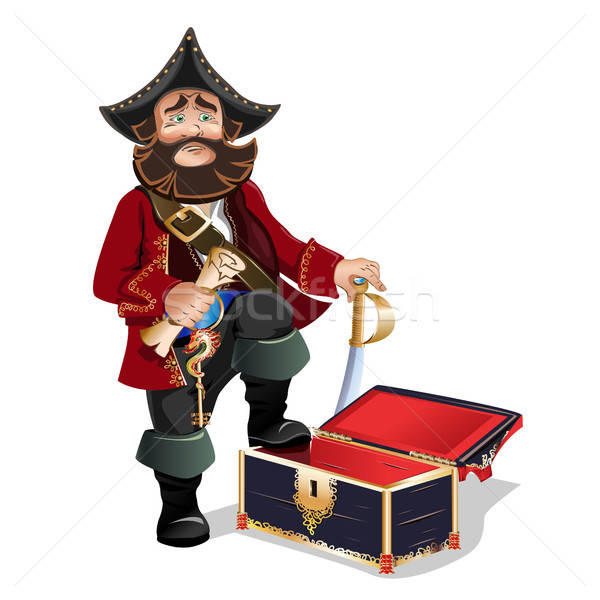 Lege schatkist piraat achtergrond metaal sleutel Stockfoto © bedlovskaya