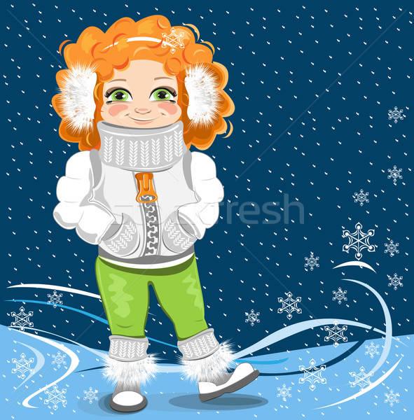 Meisje winter kind sneeuw Rood slot Stockfoto © bedlovskaya
