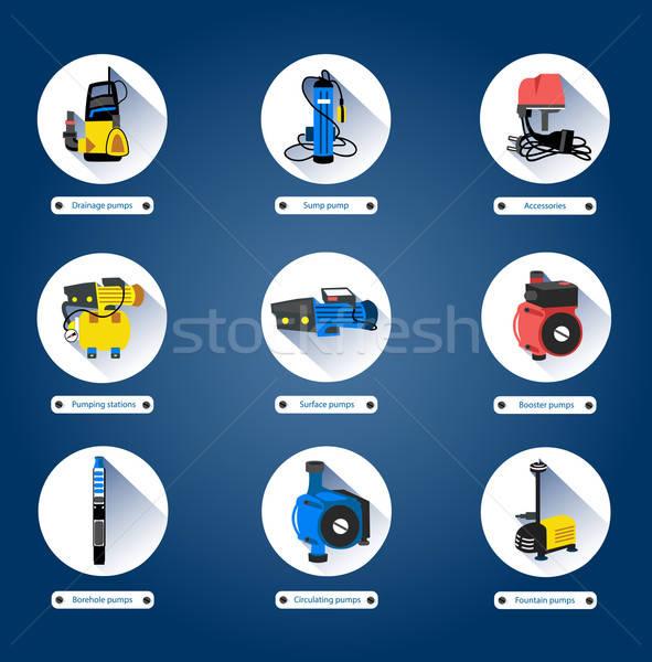 Flat icons. Water pumps Stock photo © bedlovskaya