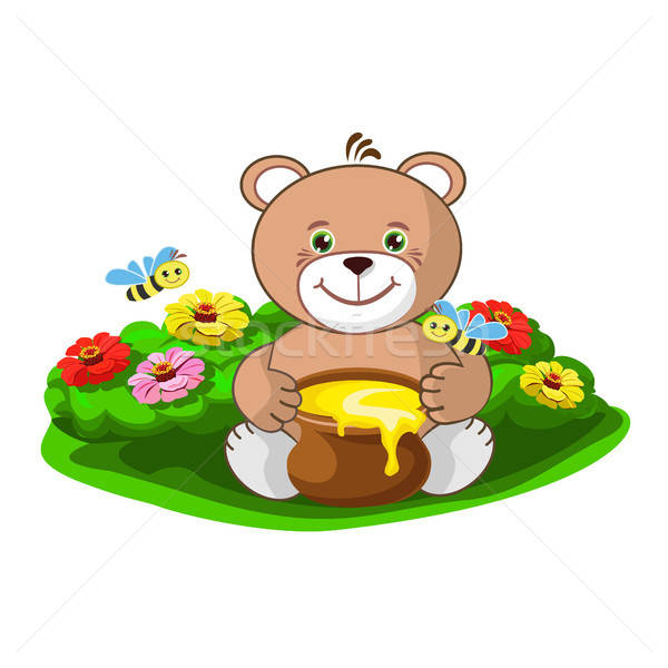 teddy bear with a pot of honey and a beehive with merry bees Stock photo © bedlovskaya