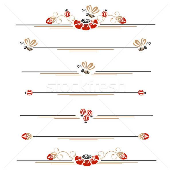Stockfoto: Decoratie · klaprozen · bijen · bloem · ontwerp