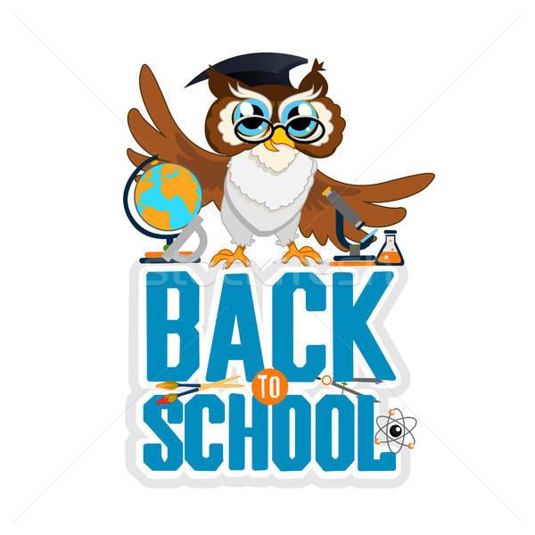 Terug naar school kleur uil vector uitnodiging sjabloon Stockfoto © bedlovskaya