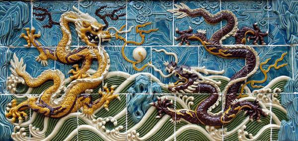 дракон стены два фон синий Сток-фото © bedo