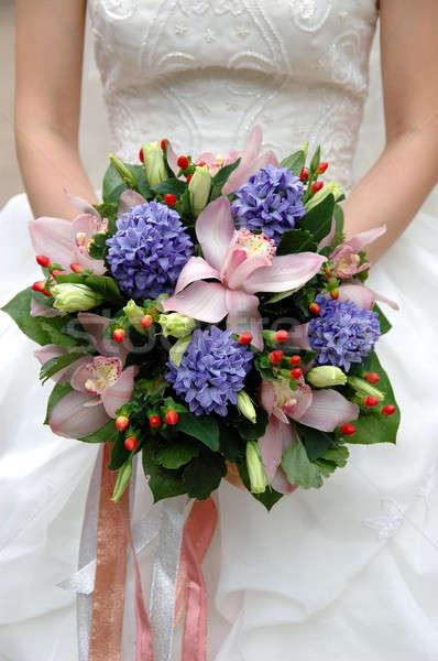 Novia ramo nina feliz matrimonio femenino Foto stock © bedo