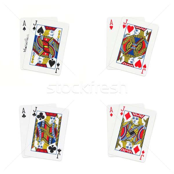 черный изолированный белый лице казино карт Сток-фото © bedo